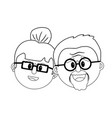 line old couple face with hairstyle vector image