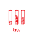 Love test tubes with hearts inside Card vector image vector image