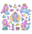 mermaids with long purple hair vector image vector image