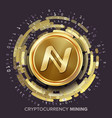 mining namecoin cryptocurrency golden coin vector image vector image