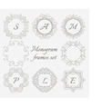 Monogram frames Retro style set Hand drawn vector image