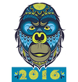 Ornate Monkey Head vector image vector image