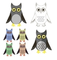 Owl Icons Isolated vector image