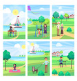 people spending free time in park poster vector image vector image