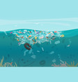 plastic pollution trash underwater sea with vector image