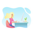 pretty young blonde woman at desk is working vector image