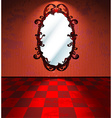 Red room with mirror vector image