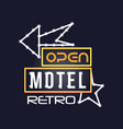 retro motel neon sign vintage bright glowing vector image vector image
