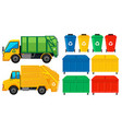 Rubbish trucks and cans in many colors vector image vector image
