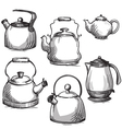 Set of kettles vector image vector image