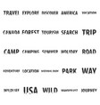 set of travel labels with silhouette of forest vector image vector image