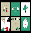 set retro funny christmas cards vector image vector image