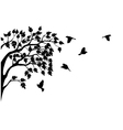 Silhouette of tree and bird isolated vector | Price: 1 Credit (USD $1)