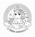 small cartoon unicorn black and white vector image vector image