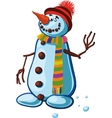 snowman with silly smile vector image vector image