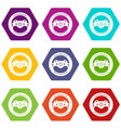 steering wheel icons set 9 vector image