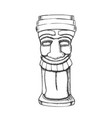 tiki idol carved wood totem monochrome vector image vector image