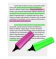 Two markers on paper sheet vector image