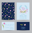 wedding invitation card with spring tulips flowers vector image vector image