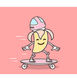 yellow color smile banana in helmet ridin vector image