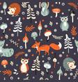 cute woodland animals pattern vector image