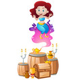 genie floating out of the lamp vector image