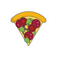 pizza in color flat icon style vector image
