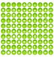 100 usa icons set green circle vector image vector image