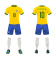 3d realistic uniform of brasil football vector image vector image