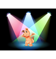 A dog with a red collar at the center of the stage vector image vector image