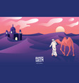 a mans journey with camels through desert vector image vector image