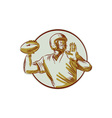 American Football QB Throwing Circle Side Etching vector image vector image