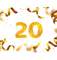 anniversary banner 20th gold ribbon fly vector image