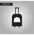 black and white style icon suitcase on wheels vector image vector image