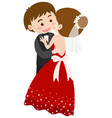 bride and groom hugging vector image