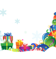 Bright gifts on snow vector image