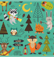 camping seamless pattern with animals in forest vector image