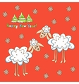 card two sheep for the new year vector image