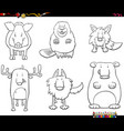 cartoon animal characters set coloring book page vector image vector image