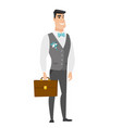 caucasian groom holding briefcase vector image vector image