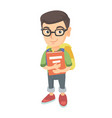 caucasian schoolboy with backpack and textbook vector image vector image