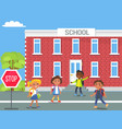 children in front of school cartoon vector image vector image