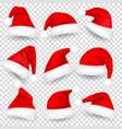 christmas santa claus hats with fur and shadow set vector image vector image