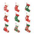 christmas socks and gifts new year xmas stockings vector image