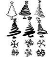 Christmas-trees and snowflakes vector image vector image