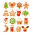 colorful christmas gingerbread cookies vector image vector image