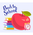 colorful of big red apple stack of books an vector image vector image