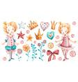 cute princess baby girl watercolor nursery vector image