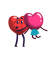 cute red heart holding girlfriend funny couple in vector image vector image