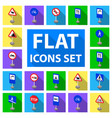 different types of road signs flat icons in set vector image vector image